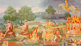 Mural mythology buddhist religion on wall in Wat Neram Royalty Free Stock Images