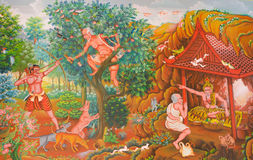 Mural mythology buddhist religion on wall in Wat Neram Stock Image