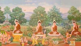 Mural mythology buddhist religion on wall in Wat Neram Stock Image