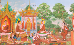 Mural mythology buddhist religion on wall in Wat Neram Stock Images