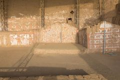 Mural of the myths pyramid of the moon Peru royalty free stock photo