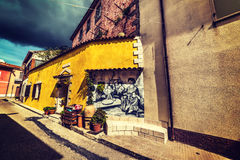 Mural in a narrow street Royalty Free Stock Image