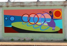 Free Mural Of A Dancing Ballerina On A Bridge Underpass On James Rd In Memphis, Tn Stock Photo - 52574250