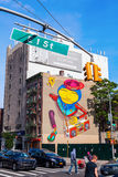 Mural of Os Gemeos in downtown Manhattan, NYC Royalty Free Stock Photography