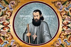 Arsenie Boca Mural Fresco at Sambata de Sus Monastery, Romania royalty free stock images