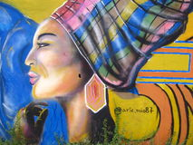 Mural painted on a street wall in Puerto Ordaz city, Venezuela. stock image