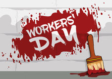 Mural Painted in Workers' Day Commemorative March, Vector Illustration Stock Images