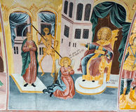 Mural painting in Bachkovo Monastery in Bulgaria royalty free stock photography