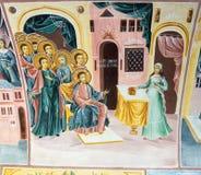 Mural painting in Bachkovo Monastery in Bulgaria stock image