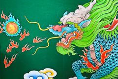 Mural Painting, Dragon. Stock Photo