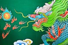 Mural Painting, Dragon. Stock Photo