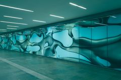 Mural painting at the railway station in Graz, stock photography