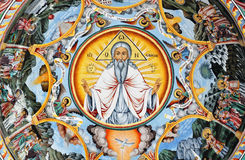 Mural painting of saint Ivan Rilski Stock Photography