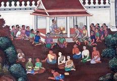 Mural painting in Thai style in Wat Phra Kaew in Bangkok, Thaila Stock Image