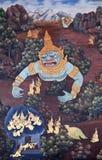 Mural painting in Thai style in Wat Phra Kaew in Bangkok, Thaila Royalty Free Stock Image