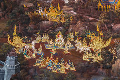 Free Mural Paintings At Wat Phra Kaew, Bangkok Stock Images - 55889244