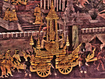 Mural paintings on exterior wall of king palace Bangkok Thailand Stock Image