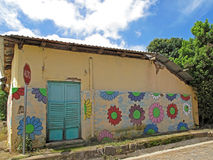Mural paintings on house, Ruta De Las Flores, El Salvador. Central America Stock Images