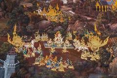 Mural paintings at Wat Phra Kaew, Bangkok Stock Image