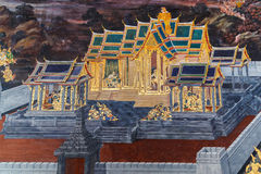 Mural paintings at Wat Phra Kaew, Bangkok Stock Photo