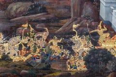 Mural paintings at Wat Phra Kaew, Bangkok Royalty Free Stock Image