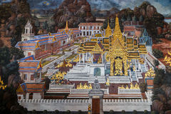 Mural paintings at Wat Phra Kaew, Bangkok Stock Image