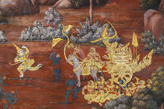 Mural paintings at Wat Phra Kaew, Bangkok Royalty Free Stock Images