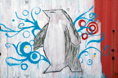 Mural in Patagonia, Chile. Penguin, mural in Patagonia, Chile royalty free stock photos