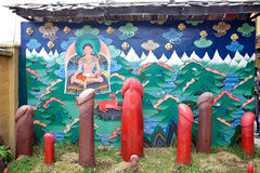 Mural and phallus, Thimphu, Bhutan Stock Image