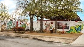 Mural Plaza, Bishop Arts District, Dallas, Texas. Pictured is the new mural plaza in the Bishop Arts District, Dallas, Texas. The 120-foot-long mural painted by stock images