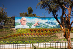 Mural for Pope welcoming in La Paz, Bolivia Stock Image