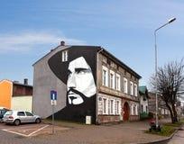 Mural portraying famous polish singer Czeslaw Niemen. Stock Image