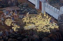 Mural of Ramayana in Wat Pra Kaew, Bangkok, Thailand Stock Photo