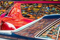 Mural reflected in car windows and paintwork Royalty Free Stock Photos