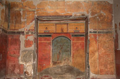 Mural in the Roman Villa Poppaea, Italy. Mural in the calidarium or room with a hot plunge bath, used in a Roman bath complex, of Villa Poppaea, situated in the royalty free stock photos