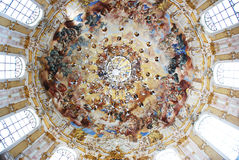 Mural round. Fresco in the church ceiling round Stock Images