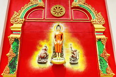 The mural and sculpture thai style on the wall of buddhist temp Royalty Free Stock Image