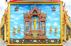 Mural and sculpture thai style on the wall of buddhist temp. The mural and sculpture thai style on the wall of buddhist temple in Thailand Royalty Free Stock Photo
