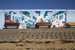 Mural on the Sea Wall at Concord Beach, Canvey Island, Essex, En Stock Photo