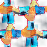 Mural seamless hands pattern background texture stock illustration