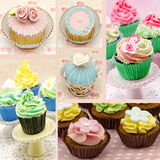 Mural of several cupcakes. Forming a background Stock Images