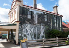 Mural in Sheffield. Huge Mural on brick wall of  Highlander Restaurant and Scottish Scone Shoppe in Sheffield Tasmania Stock Photo