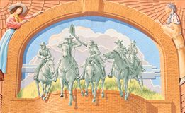 Mural On the Side of The National Cowgirl Museum and Hall of Fame Stock Photos