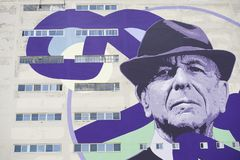 Leonard Cohen. A mural of singer songwriter Leonard Cohen is shown in Montreal Royalty Free Stock Images