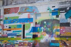 Murals from Arts District in Los Angeles. Mural street art from the Arts District in Downtown Los Angeles Stock Photos