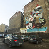 Mural street art by unidentified artist in jewish quarter Kazimierz. Stock Images