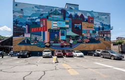 Mural of the Strip District in Pittsburgh Pennsylvania stock images