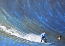 Mural surfer. HALF MOON BAY CA USA APRIL 12: 2015: Mural surfer Half Moon Bay is a virtual outdoor art gallery where city walls become the artist canvas and the Royalty Free Stock Image