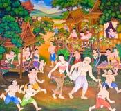 Mural tailandés tradicional fotografía de archivo libre de regalías