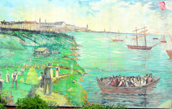 Mural tell story of acadians people Stock Photo